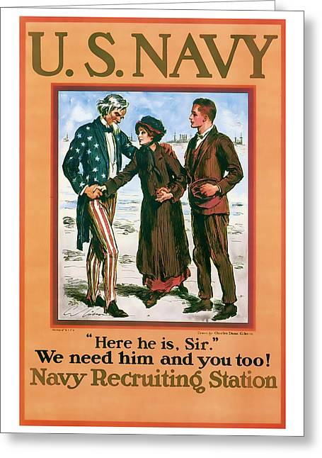 Enlistment Greeting Cards - Navy Recruiting Vintage ww1 Art Greeting Card by Presented By American Classic Art