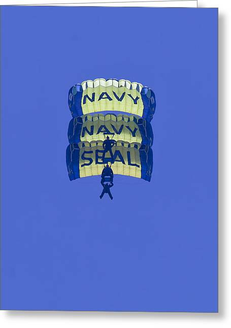 Oc Greeting Cards - Navy Seal Leap Frogs 3 Vertical Parachutes Greeting Card by Donna Corless