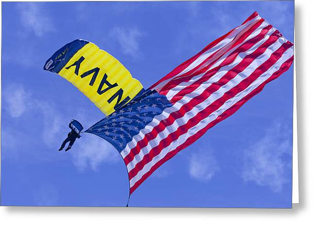 Oc Greeting Cards - Navy Seal Leap Frogs US Flag Greeting Card by Donna Corless