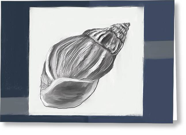 Sea Shell Art Paintings Greeting Cards - Navy Seashells I-Navy and Gray Art Greeting Card by Lourry Legarde
