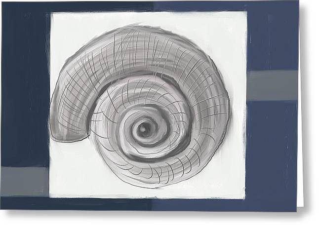 Restaurant Decor Greeting Cards - Navy Seashells II - Navy and Gray Art Greeting Card by Lourry Legarde