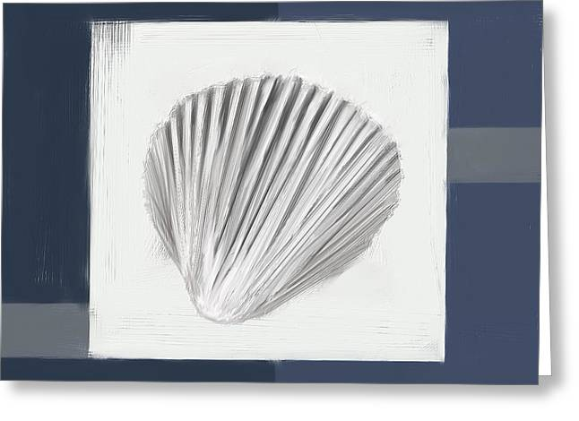 Restaurant Decor Greeting Cards - Navy Seashells V - Navy and Gray Art Greeting Card by Lourry Legarde