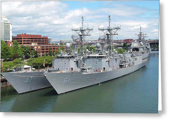 Festivities Greeting Cards - Navy ships docked for the Portland Rose festival. Greeting Card by Gino Rigucci
