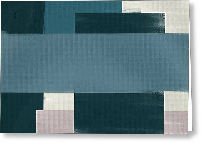 Light Blue Gray Greeting Cards - Navy Silence Greeting Card by Lourry Legarde