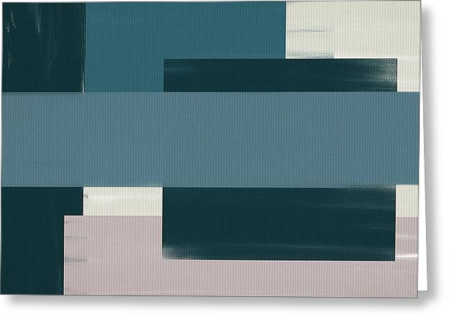 Light Blue Gray Greeting Cards - Navy Silence II Rectangular Format Greeting Card by Lourry Legarde