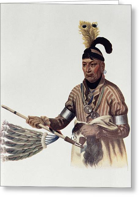 Jewellery Greeting Cards - Naw-kaw Or Wood, A Winnebago Chief, Illustration From The Indian Tribes Of North America, Vol.1 Greeting Card by Charles Bird King