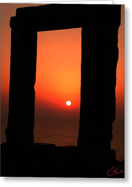 Oceon Greeting Cards - Naxos Island Sunset Greece  Greeting Card by Colette V Hera  Guggenheim