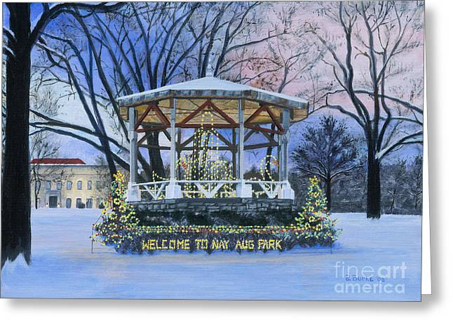 Evening Scenes Greeting Cards - Nay Aug Park Holiday Lights Greeting Card by Austin Burke