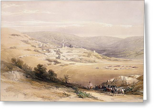 Goat Drawings Greeting Cards - Nazareth, April 28th 1839, Plate 28 Greeting Card by David Roberts