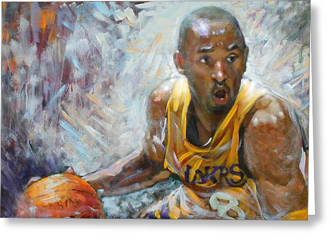Basketball Paintings Greeting Cards - NBA Lakers Kobe Black Mamba Greeting Card by Ylli Haruni