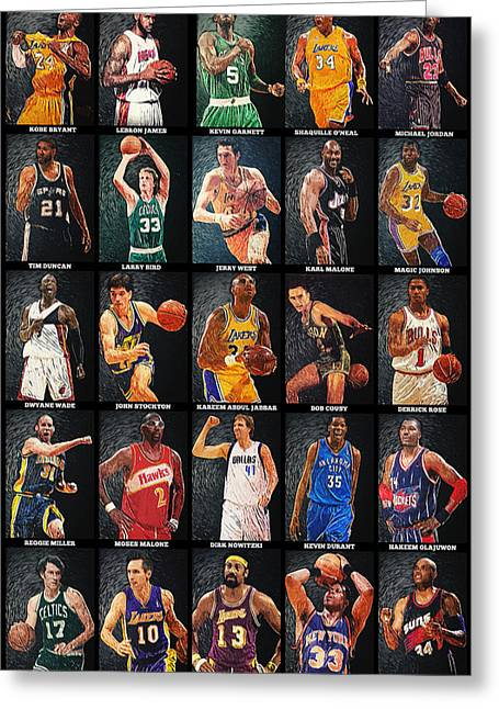 Karl Malone Greeting Cards - NBA Legends Greeting Card by Taylan Soyturk