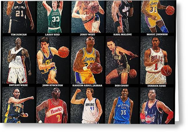 NBA Legends Greeting Card by Taylan Soyturk