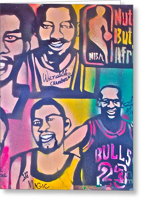 Lakers Paintings Greeting Cards - NBA Nuthin But Africans Greeting Card by Tony B Conscious