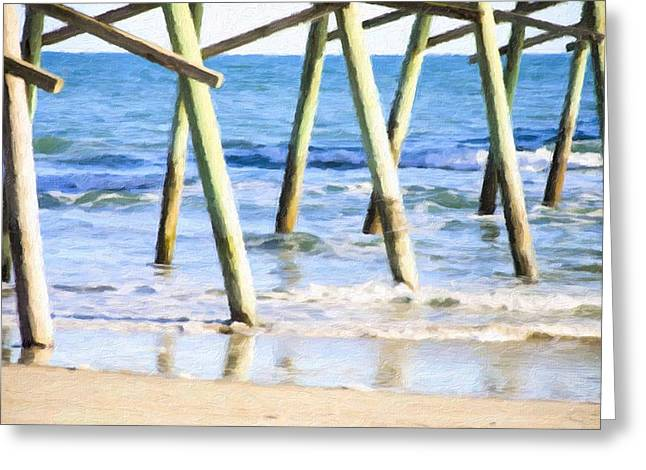 Outdoor Greeting Cards - NC fishing pier 4 Greeting Card by Lanjee Chee