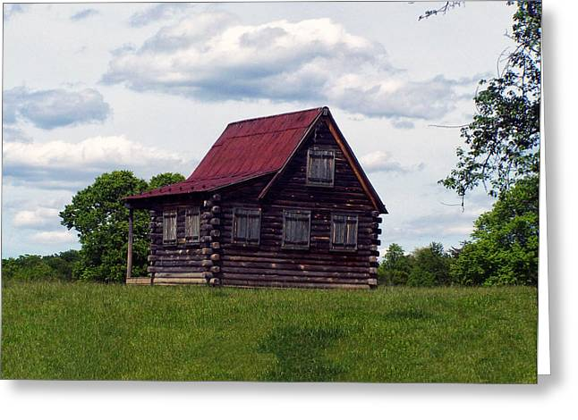 Landscape Posters Greeting Cards - NC log home 2 Greeting Card by Chris Flees