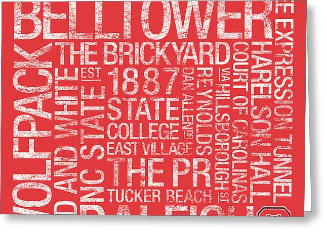 NC State College Colors Subway Art Greeting Card by Replay Photos