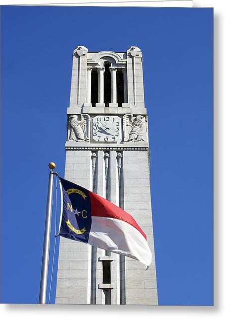 Wolfpack Greeting Cards - NC State Memorial Bell Tower and NC Flag Greeting Card by Orange Cat Art