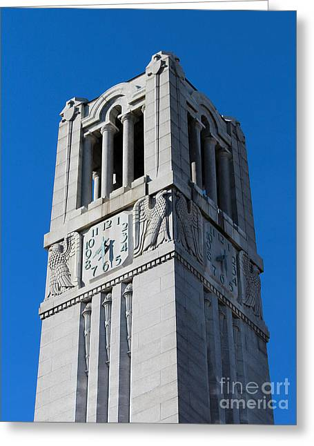 Historic Statue Greeting Cards - NC State University Memorial Bell Tower Greeting Card by Robert Yaeger