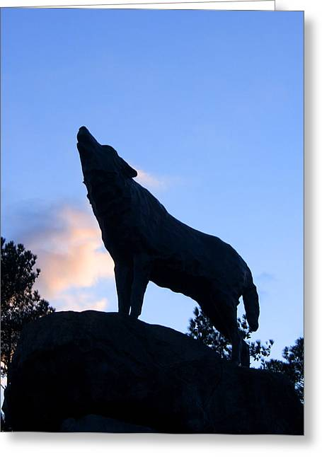 Wolfpack Greeting Cards - NC State Wolfpack Statue Greeting Card by Orange Cat Art
