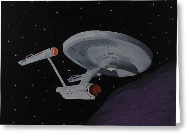 Enterprise Paintings Greeting Cards - Ncc-1701 Greeting Card by Alex Banman
