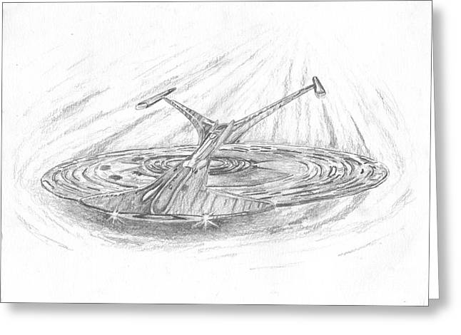 Enterprise Drawings Greeting Cards - NCC-1701-J Enterprise Greeting Card by Michael Penny