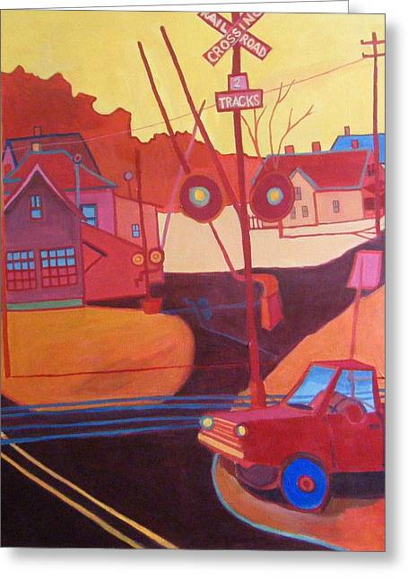 Paintng Greeting Cards - NChelmsford RR crossing Greeting Card by Debra Bretton Robinson