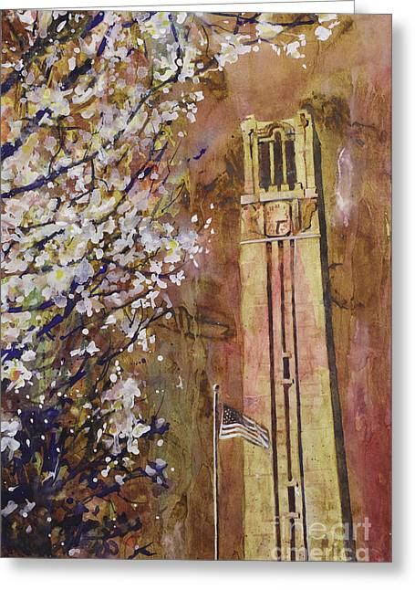 Locations Paintings Greeting Cards - NCSU Bell Tower Greeting Card by Ryan Fox