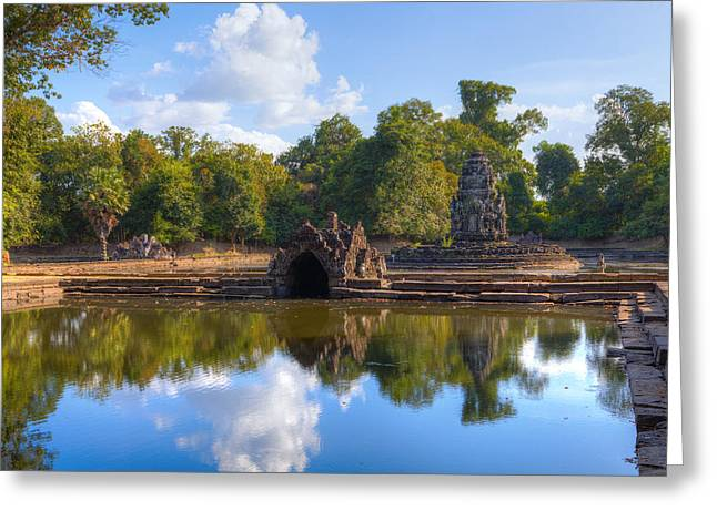 Ancient Ruins Greeting Cards - Neak Poan Temple Greeting Card by Alexey Stiop