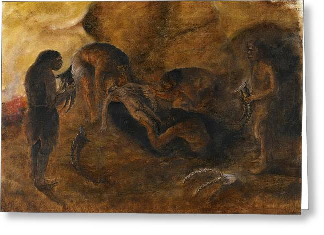 Tash Greeting Cards - Neandertha burial, artwork Greeting Card by Science Photo Library