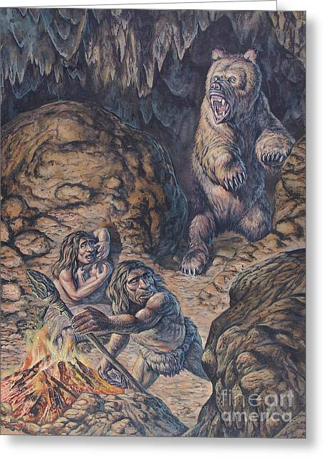 Human Survival Greeting Cards - Neanderthal Humans Confronted By A Cave Greeting Card by Mark Hallett