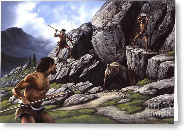 Existence Greeting Cards - Neanderthals Hunt A Cave Bear Greeting Card by Jerry LoFaro