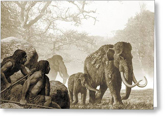 Ancestors Greeting Cards - Neanderthals hunting mammoth, artwork Greeting Card by Science Photo Library