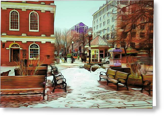 Live Art Greeting Cards - Near Quincy Market in Boston Greeting Card by Yury Malkov