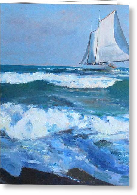 Galveston Paintings Greeting Cards - Near Shore Greeting Card by Randall Cogburn