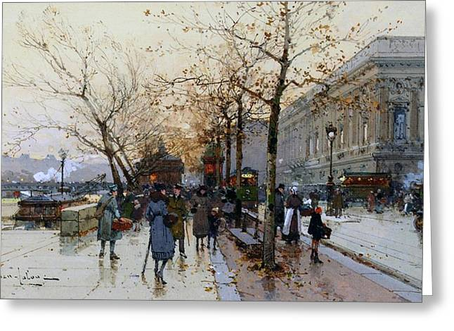 City Street Scene Greeting Cards - Near the Louvre Paris Greeting Card by Eugene Galien-Laloue