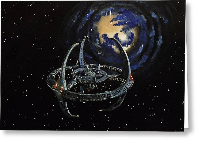 Startrek Greeting Cards - Near the Wormhole Greeting Card by Tim Loughner