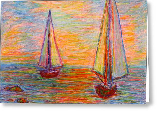 Blue Sailboat Pastels Greeting Cards - Nearing The Shoals Greeting Card by Kendall Kessler