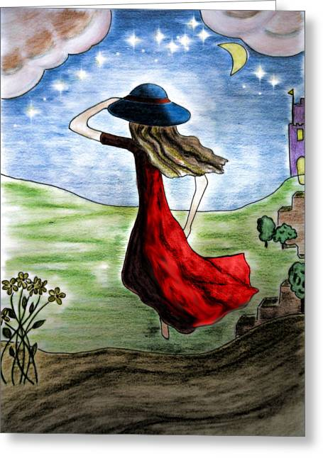Running Princess Greeting Cards - Nearly midnight Greeting Card by Jo Ann