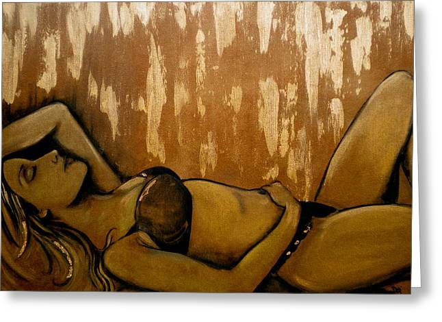 Dream Scape Greeting Cards - Nearly Naked Bronze Greeting Card by Debi Starr