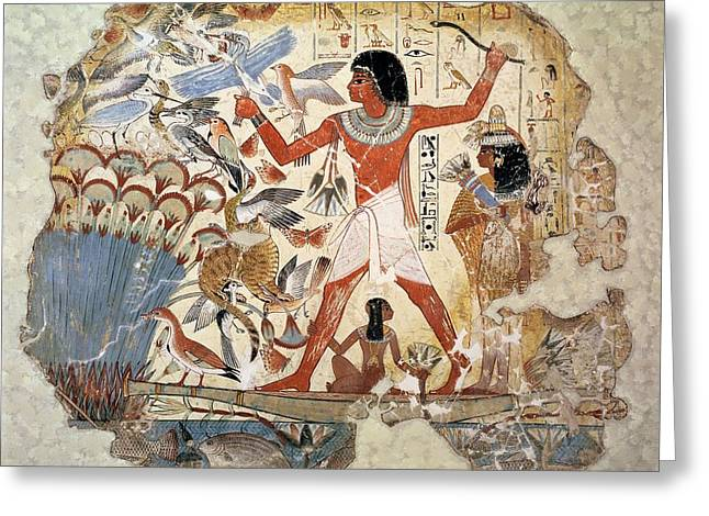 Cat Boat Greeting Cards - Nebamun Hunting In The Marshes With His Wife And Daughter, Part Of A Wall Painting Greeting Card by Egyptian 18th Dynasty