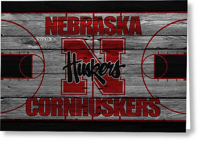 Recently Sold -  - Dunk Greeting Cards - Nebraska Cornhuskers Greeting Card by Joe Hamilton