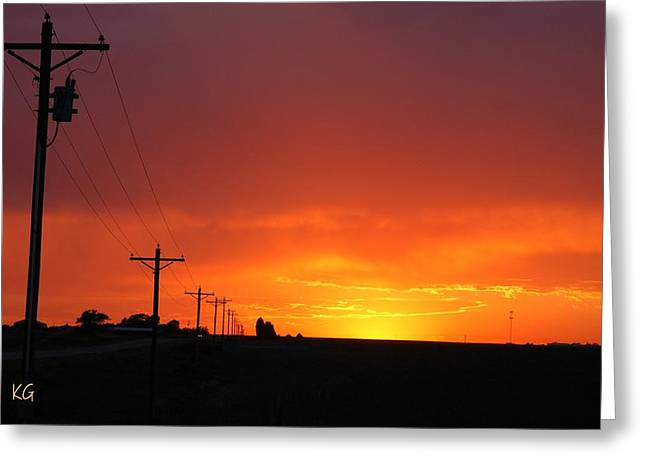 Electric Pyrography Greeting Cards - Nebraska Fire Sunset Greeting Card by Krisztina  Gayler