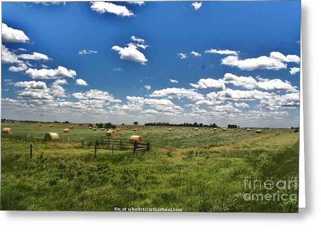 Hay Bales Greeting Cards - Nebraska Hay Baling Greeting Card by PainterArtist FIN