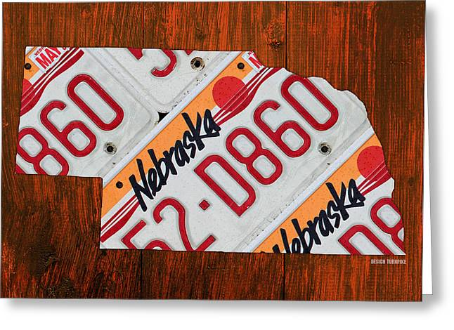 Road Trip Greeting Cards - Nebraska License Plate Map Art Greeting Card by Design Turnpike