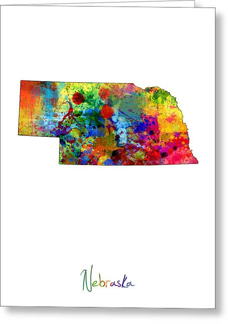 Cartography Digital Art Greeting Cards - Nebraska Map Greeting Card by Michael Tompsett