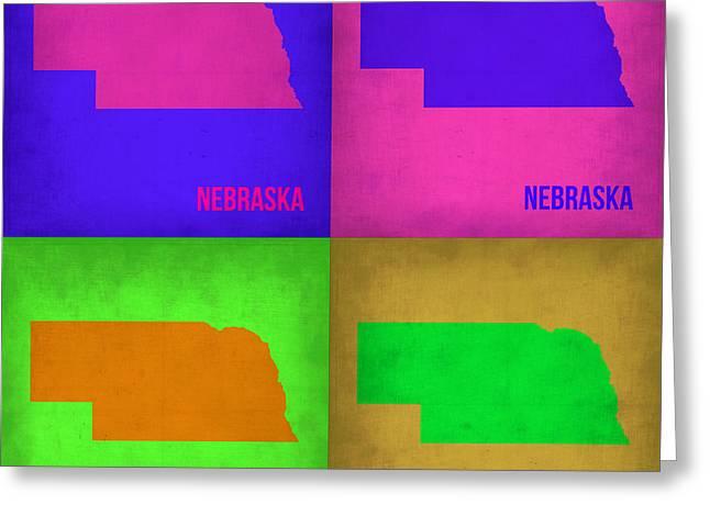 Nebraska. Greeting Cards - Nebraska Pop Art Map 1 Greeting Card by Naxart Studio
