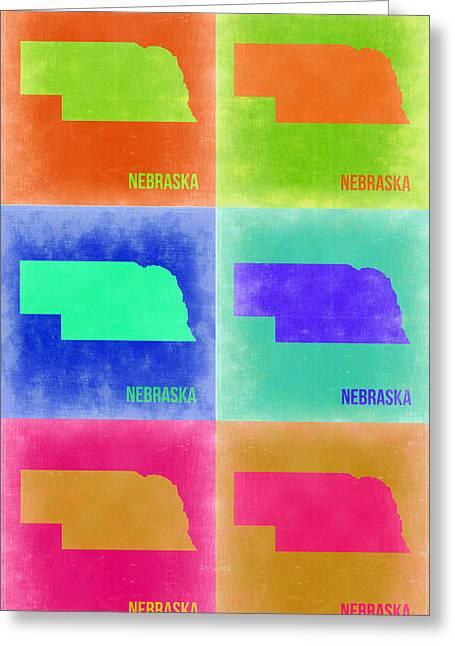 Nebraska. Greeting Cards - Nebraska Pop Art Map 2 Greeting Card by Naxart Studio