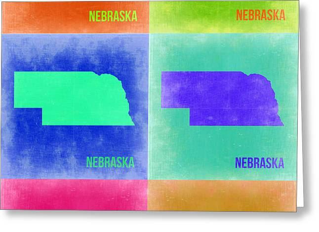 Nebraska Pop Art Map 2 Greeting Card by Naxart Studio