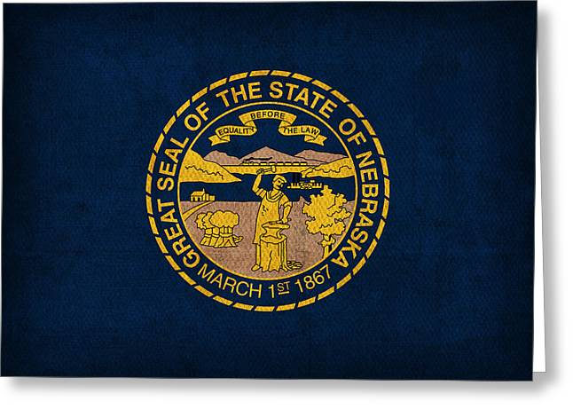Omaha Greeting Cards - Nebraska State Flag Art on Worn Canvas Greeting Card by Design Turnpike