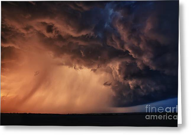 Wheat Field Sky Pictures Greeting Cards - Nebraska storm sunset  Greeting Card by Jeremy Holmes